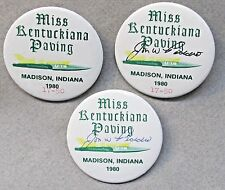 3 different 1980 MISS KENTUCKIANA PAVING matched pinback buttons hydroplane