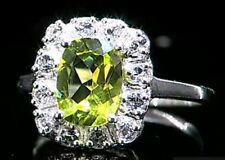 BNWT SOLID STERLING SILVER GENUINE PERIDOT & TOPAZ 2.6 CARATS RING SIZE T - U 10
