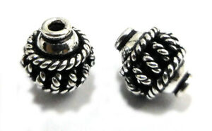12 PCS 10MM SOLID COPPER BALI BEAD ANTIQUE STERLING SILVER PLATED 719 ESH-417