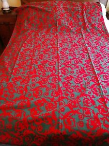 """Vintage Indian Head Mills Red And Green Fabric Table Cloth 50"""" X 80"""""""