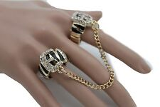 Band 2 Fingers Zebra Belt Buckle Women Ring Gold Metal Chains Fashion Elastic