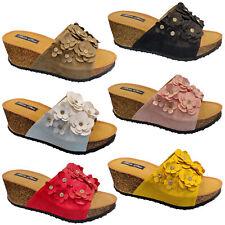 Señoras MIRADA De Gamuza Cuña Sandalias De Plataforma Diamante Zapatos Puntera Abierta Verano Flores