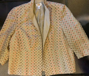 TALBOTS WOMAN Tan Linen Blend Embroidered Jacket 16W