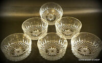 "6 pcs ARCOROC USA FRUIT BOWL CRYSTAL CLEAR GLASS STARBURST 5"" X 2"""