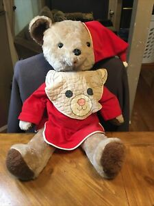 """Rushton Bear Vintage Brown Plush In Red Flannel Pjs with Bib 26"""" Tall"""