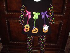 EUC  Girls Size 6 Allison Ann 2pc Halloween Set Pumpkins BOO Polka Dots