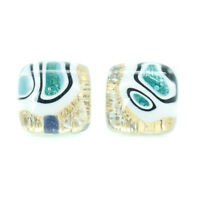 Murano Glass Stud Earrings Gold Light Blue White Millefiori Handmade Venice
