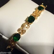 "Gold 'eternity' bracelet, green oval emeralds, 7.25"", 14k GF, Plum UK BOXED"