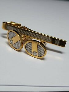 Vintage Dunhill, Cufflinks and Tie Clip set, Two Tone, Barley finish
