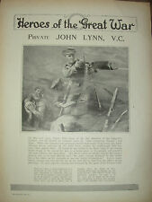 VINTAGE 1914 WWI MAGAZINE PRINT - HEROES OF THE GREAT WAR PRIVATE JOHN LYNN V.C.