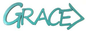"GRACE Metal Sign for Kitchen Home Decor Wall Door Art Teal 14"" long 5"" Tall NEW"