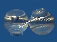 """6"""" Clear Prism Round Acrylic Plastic Sphere 3 1/4"""" Neck for Wall Mount Fixture"""