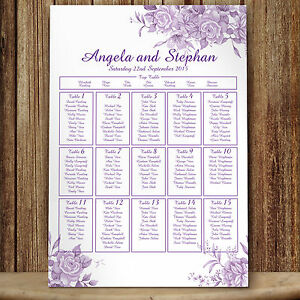 Personalised  Wedding Seating Table Plan ~Canvas~Board~Paper~ Purple Roses