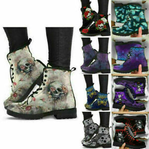 New Womens Ladies Winter Warm Skull Flower Printed Ankle Snow Boots MartinShoes!