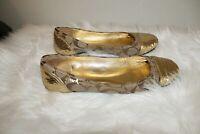 LIKE NEW Coach Gold Cap Logo Sequins Ballet Flats Women's US 7.5 M UK 5.5 $295