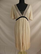 BNWT NEXT CRINKLE FINISH DRESS SHORT SLEEVES EMBROIDERED CREAM SIZE 14