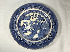 Vintage Antique Blue Willow Pattern Large Decorative Plate Buffalo Pottery