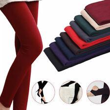 Grueso cálido Terciopelo Negro de Lana de Mujer Brillo Elegante Invierno Pantalones Leggings Térmico
