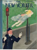 1943 New Yorker May 1 Cover Only - Traffic cop and Spring red light runner