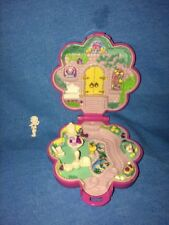 1990 Bluebird Polly Pocket Garden Surprise---Pink Flower Compact---White Statue