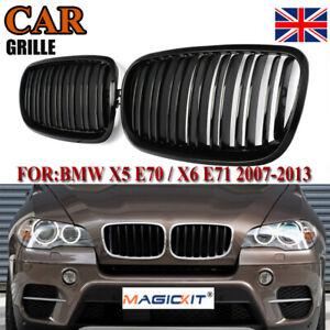 2x For BMW E70 E71 X5 X6 07-13 Gloss Black Dual Line Front Bumper Kidney Grilles