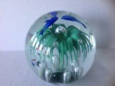 Vintage Murano Glass Fish Aquarium Flower Bubbles Paperweight/ figure with Label