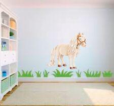 Cream Pony Horse Cartoon Girls Nursery Childs Bedroom Vinyl Wall Art Sticker Large Left