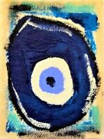 Original signed ACEO painting/Mataki/Evil Eye/Greek Evil Eye/Superstition/Greek