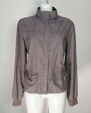 ELLE dark Grey cotton embroidered Light weight Polo Turtleneck Bomber jacket 16