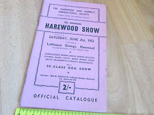 7th Annual HAREWOOD Agricultural Show 1952 Lofthouse Grange Prog. / Catalogue