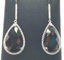 Sterling Silver Faceted Pear Black Onyx / Diamond Halo Drop Dangle Post Earrings
