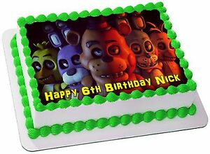 FIVE NIGHTS AT FREDDY'S   ICING  Edible CAKE TOPPER PARTY IMAGE FROSTING SHEET