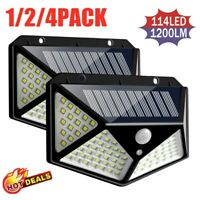 100 LED Solar Power PIR Motion Sensor Wall Lights Outdoor Garden Security Lamp A