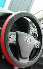 BLACK AND RED HQ  LEATHER CAR STEERING WHEEL COVER GLOVE UNIVERSAL GRIP