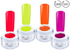 NEON GEL Collection 4x Color Effekt Farb Gel SET UV LED GEL NailArt French Nagel