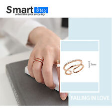 Gold Plated Micro Zircon Diamonds Ring Double Circle Adjustable Exquisite Ring