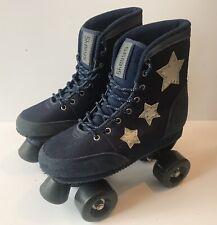 Shellys Retro Quad Roller Skates - Navy Denim With Silver Stars UK Size 4