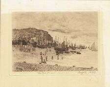The Fish market, Hastings, Sussex. Original attractive 1895 Engraving.
