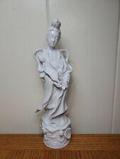 "White Porcelain Vintage Geisha with Lotus Flower 11.75"""