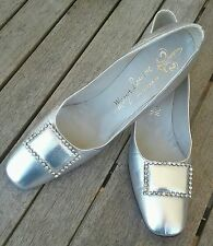 Vtg 1960s Manor Bourne for I. Magnin Metalic Classic Silver Pump sz 8 Aaaa. Rare