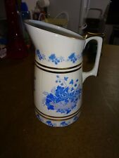 Vintage Cmielow Blue Transfer Pitcher Made in Poland #33 with Gold Banding