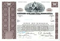 Eastern Gas and Fuel Associates Stock Certificate 100 Shares