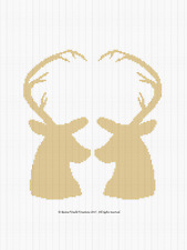 Crochet Pattern/Patterns - DEER LOVE SILHOUETTE Color Graph/Chart Afghan Pattern