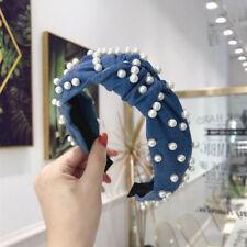 Fashion Ladies Denim Hair Band Beaded Headband Hair Hoops Hair Accessories