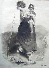 SMALL PORTRAIT A PEASANT GIRL CARRYING BABY J.F.LEWIS ENGLISH SCHOOL C1860