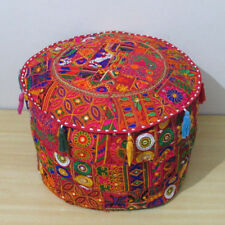 "22"" Ottoman Pouf Cover Indian Patchwork Handmade Round Footstool Pouffe Decor"