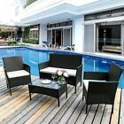 4 Piece Rattan Garden Furniture Set Sofa Chairs Table Conservatory Outdoor Patio