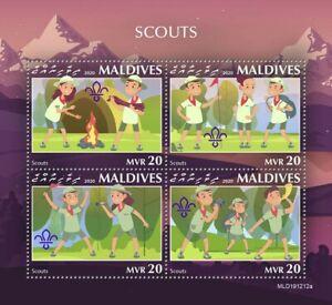 Maldives Scouting Stamps 2020 MNH Boy Girl Scouts 4v M/S