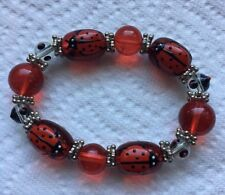 Lady Bug Red Hand Crafted Art Glass Beaded Stretch Bracelet Jewelry Jh-7