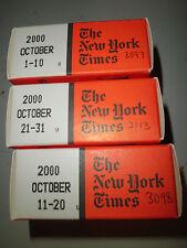 October 2000 New York Times on MICROFILM - 3 reels of film